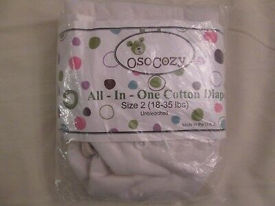 New OsoCozy All In One AIO Cloth Diaper Sz 2 White 18-35 lbs Unbleached Cotton