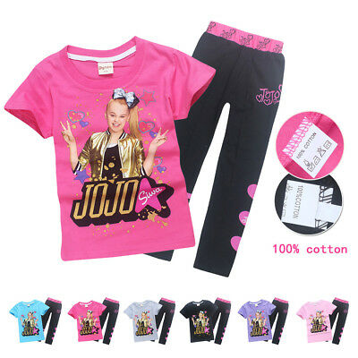 Kids Girls JoJo Siwa 100% Cotton T- Shirts Trousers Casual Tops Clothes tshirts