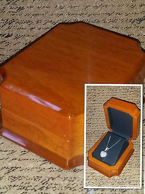 New Fancy Antique Genuine Marble Maple Wood Necklace Pendant Earrings Gift Box