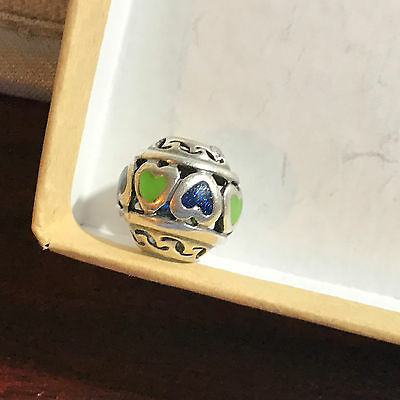966091630 Gently Used Charmed Memories Green & Blue Enamel Heart Charm Sterling Silver  #76