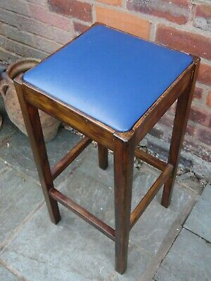 Vintage Tall Wooden kitchen Bar Stool Deep Blue Vinyl Colour Seat Pad