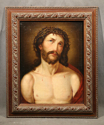 Jesus Christ Portrait,19th Century Continental School Oil Religious Painting