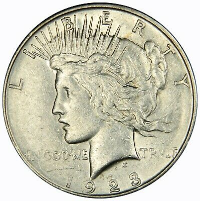 1923-S Peace Silver Dollar $ , AU ABOUT UNCIRCULATED , US Coin,