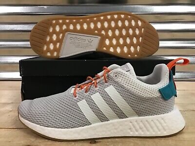 ADIDAS NMD R2 Summer Pack Shoes White Gray Orange Turquoise Gum SZ ( CQ3080 )