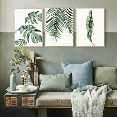 Watercolor Plant Green Leaves Canvas Painting Art Print Poster Picture Wall