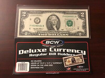(2)x SMALL BCW DELUXE CURRENCY SLEEVE BILL NOTE HOLDERS PAPER MONEY SEMI RIGID