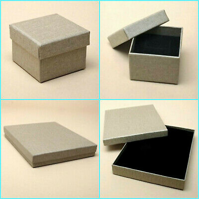 12 x Pack Linen Effect Taupe Gift Boxes/ Jewellery Boxes/Wholesale/Job Lot
