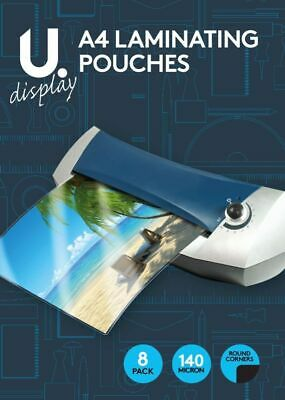 2 x Pack of 8 A4 Laminating Pouches  Hot Laminator Paper Home/Office
