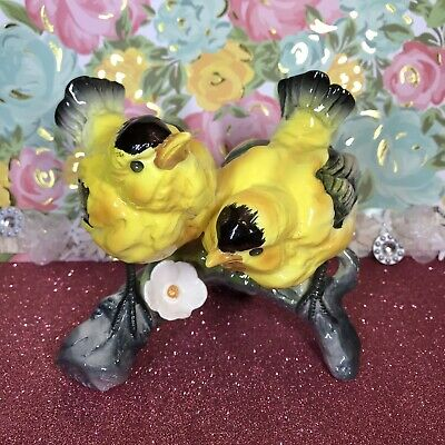 Vtg Enesco Yellow Black Gold Finch Birds On Branch Cherry Blossom Figurine Japan