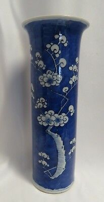 Antique 19th Century Hand Painted Chinese Blue & White Prunus Blossom Motif Vase
