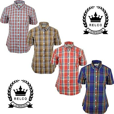 b758f838b Relco Womens Check Short Sleeve Shirt With Button Down Collar Mod Tartan  Retro