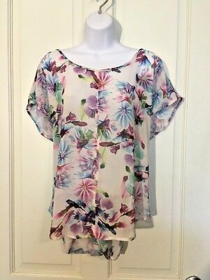 Torrid Women's Plus Size 0 Floral Sheer Blouse Open Back Career Top Short Sleeve