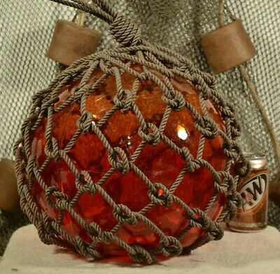 Vintage Japanese Glass Fishing Float In Red