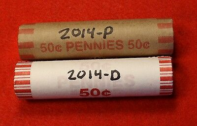 2014-P&d Lincoln Union Shield Cent Penny 2-50 Coin Rolls Red Bu Collector Gift