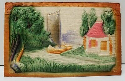 Heavily Embossed Postcard Cottage Boat Woodsy Scene Pretty as a Picture Airbrush