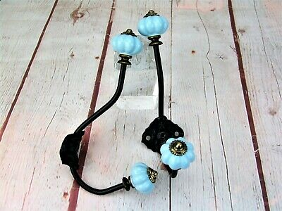 "Pair Of Wrought Iron Baby Blue Ceramic Rustic Coat Hangers Wall Hooks  7"" L"