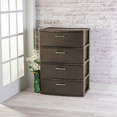 Storage Tower 4 Drawer Wide Weaver Plastic Cabinet Clothes Organize Box Bedroom