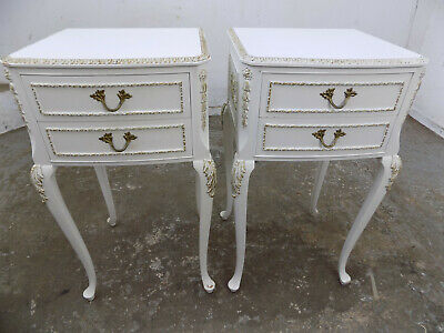 pair,french,Louis,style,white,bedside,cabinets,cabriole legs,drawers,end tables,