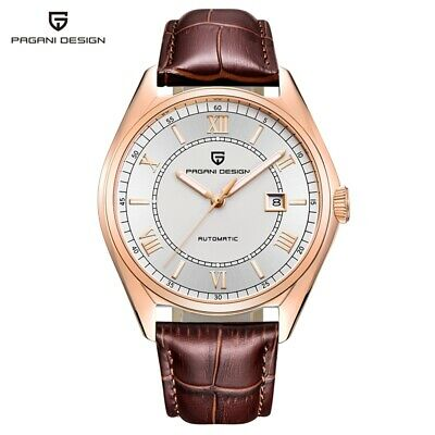 PAGANI DESIGN Waterproof Date Men's Automatic Mechanical Watches Leather Strap