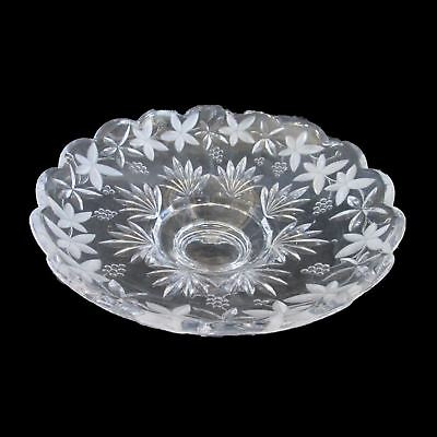 Fruit Bowl Grapes & Leaf Pattern Clear Satin & Glass Etched Footed Scalloped Rim
