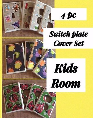 4 pc SWITCHPLATE COVER SET ~ KIDS Room ~ Light Switch Electrical Outlet Various