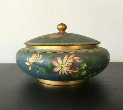 Chinese Blue Cloisonne Enamel Covered Box