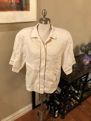 Ladies CHAUS brand sz large button up w/ short sleeves off White linen. Vintage.