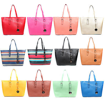 Women's Large Faux Leather Style Celebrity Tote Bag Smile Shoulder Handbag