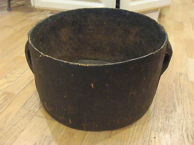 Large RARE Antique Hand Carved WOOD POT / Bowl 2 Handled Old Repairs PRIMITIVE