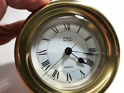 FCC Quartz Brass Cased Maritime Ships Clock - 9 cms Diameter