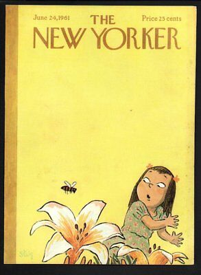New Yorker magazine COVER ONLY  June 24 1961-Steig art-Girl bee flowers-yellow