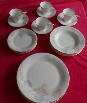 MIKASA SWISS GARDEN Bone China 20PC DINNER SET 5 PLACE SETTING FOR 4 Blue & Pink