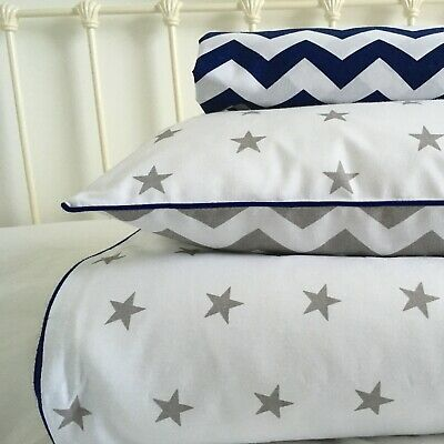 Baby boy grey cot bed / toddler bedding set reversible pure cotton stars chevron