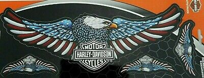"Harley Davidson Bar & Shield  American Flag Eagle Wings 4 pc Set 13"" x 4"""