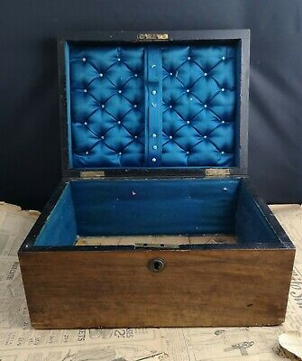 victorian solid pine sewing box, lockable without key, satin lined, antique box
