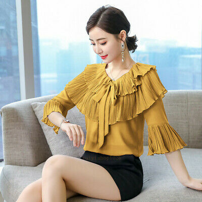 Fashion Women Ladies Bow Tie Bell Sleeve Ruffle Pleated Chiffon Shirt Blouse Top