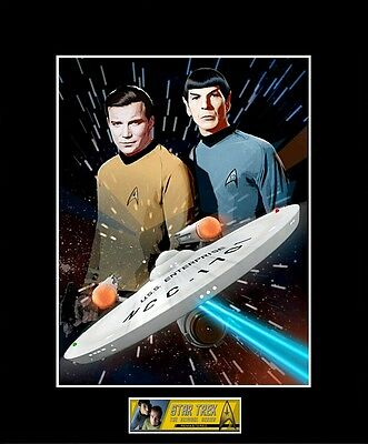 "STAR TREK TOS Capt. Kirk / Mr. Spock 8"" x 10"" Photo - 11"" x 14"" Black Matted"