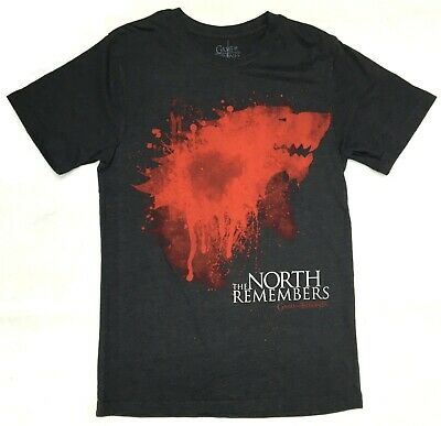 HBO Game Of Thrones BLOODY STARK THE NORTH REMEMBERS T-Shirt Charcoal NWT