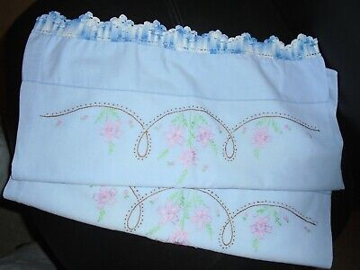 "Pair Of Vintage Handmade Crocheted & Embroidered 19"" X 33"" Blue Pillowcases"