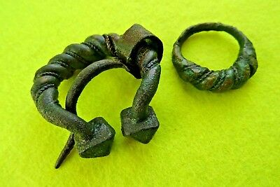 Viking Ancient Bronze Twisted Decorative Pen-annular Fibula&Finger Ring