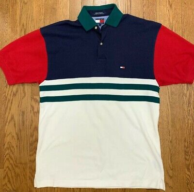 8a3687a0ea4 Vintage 90s Tommy Hilfiger Flag Color Block Polo Shirt Men's Medium Vtg
