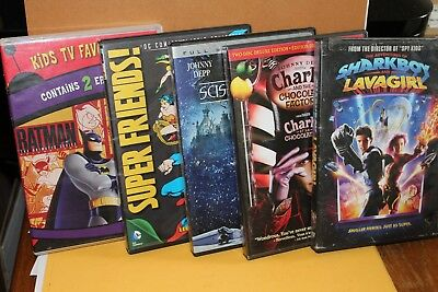 DVD Lot - Batman SUPERHEROES Charlie and the Chocolate Factory SHARKBOY