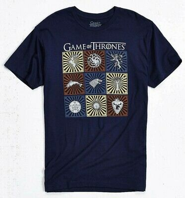 Game Of Thrones HOUSE CRESTS T-Shirt Navy NWT Official