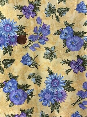 Yellow Blue Purple Floral Vintage Print Cotton Quilting Fabric -By The 1/2 Yard-