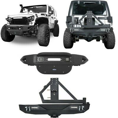 Front Rear Bumper w/Tire Carrier & 2'' Hitch Receiver For Jeep Wrangler JK 07-18