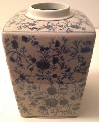 Antique Vintage Blue White Ginger Jar, Square, Crackled Glaze