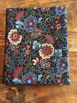 Fat Quarter Burgundy Blue Red Floral Metallic Gold Thread Cotton Quilting