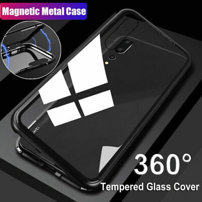 For Huawei Mate P20 Pro Lite Magnetic Adsorption Metal Tempered Glass Case Cover