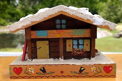 Coin Bank w Secret Door Ski Chalet Bank made in Austria Wood House Vintage