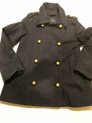 65c4d37dfd4e0 Gap Kids Girls Navy Blue Jacket Double Breasted Pea Gold Accents Size 6/7